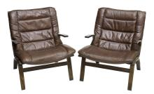 (PAIR) DANISH MID-CENTURY LEATHER LOUNGE CHAIRS