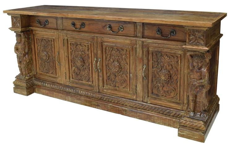 british colonial style carved teak sideboard. Black Bedroom Furniture Sets. Home Design Ideas