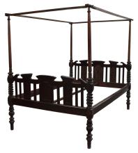BRITISH COLONIAL TEAKWOOD CANOPY BED