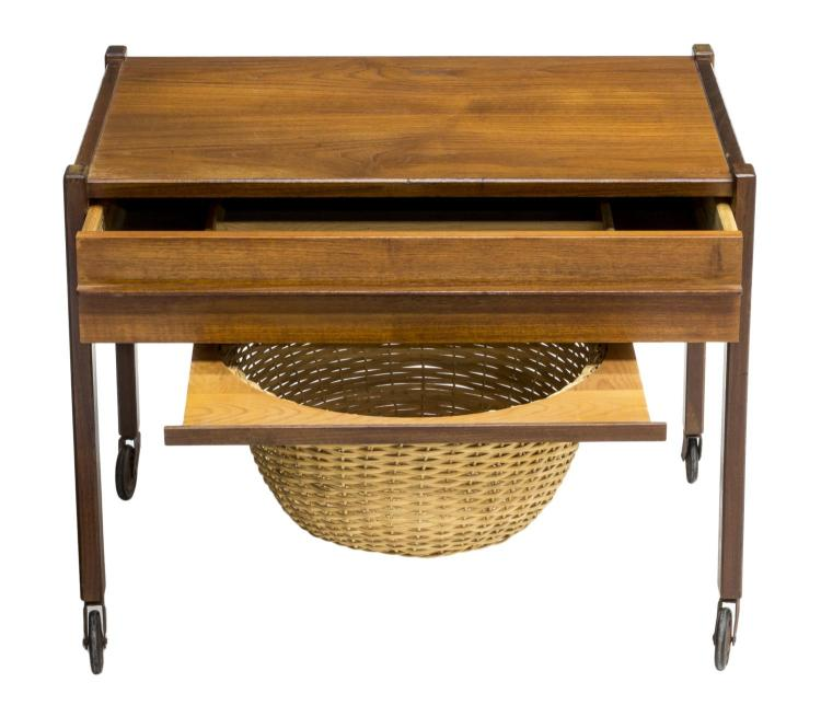Montego Contemporary Merlot Wood Square End Table W Drawer: DANISH MID-CENTURY MODERN TEAKWOOD SEWING TABLE