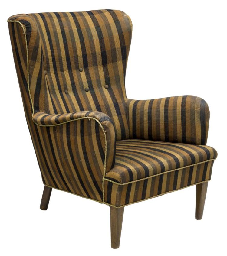 Danish Mid Century Modern Wingback Chair
