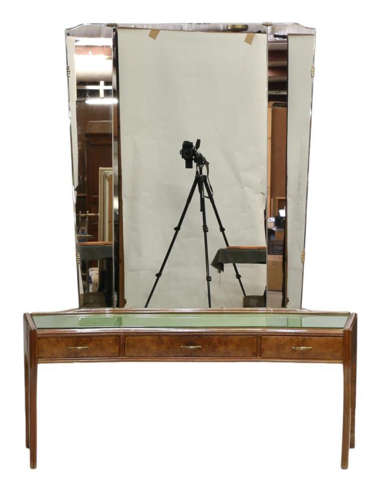 Italian Mid Century Modern Mirrored Vanity