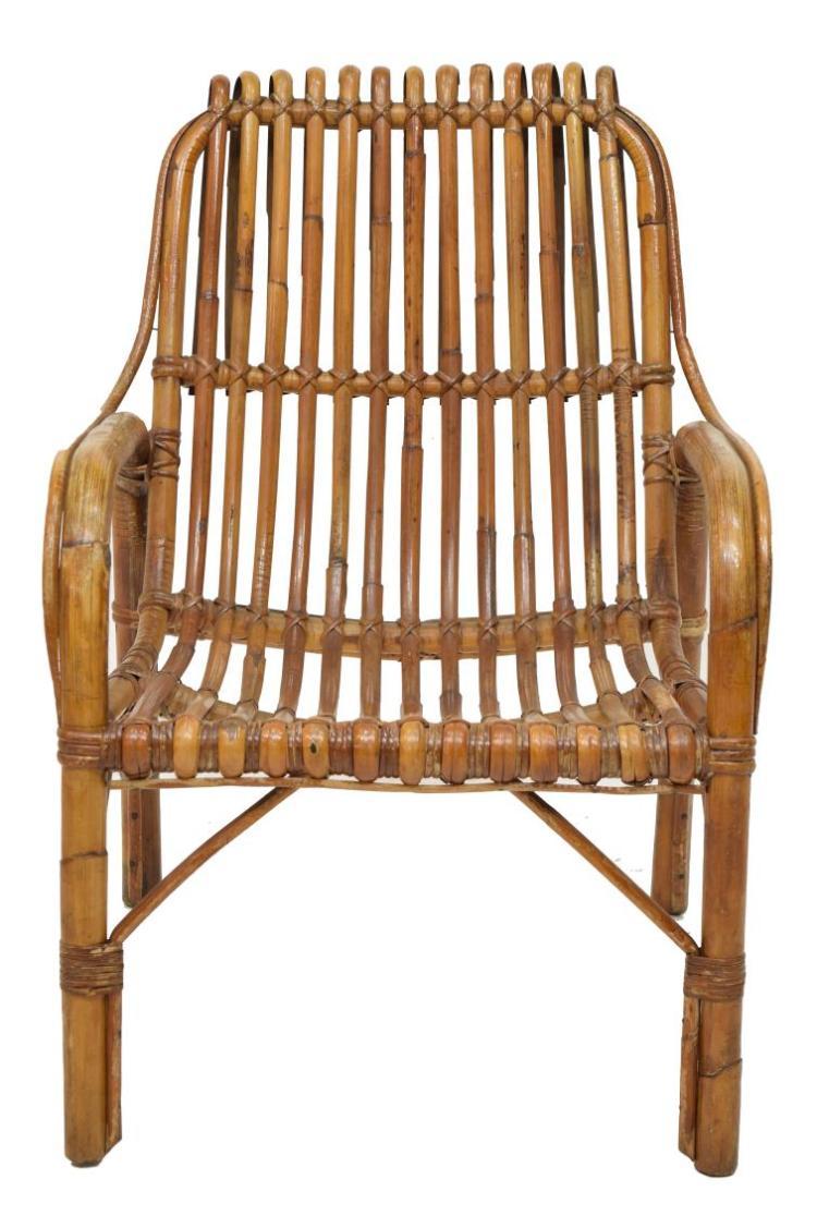 4 vintage italian bent rattan armchairs for Bent bamboo furniture