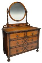 ENGLISH JACOBEAN STYLE CARVED OAK MIRRORED DRESSER