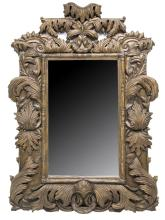 LARGE FOLIATE CARVED WALL MIRROR