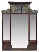 LARGE FRENCH ART NOUVEAU WALL MIRROR