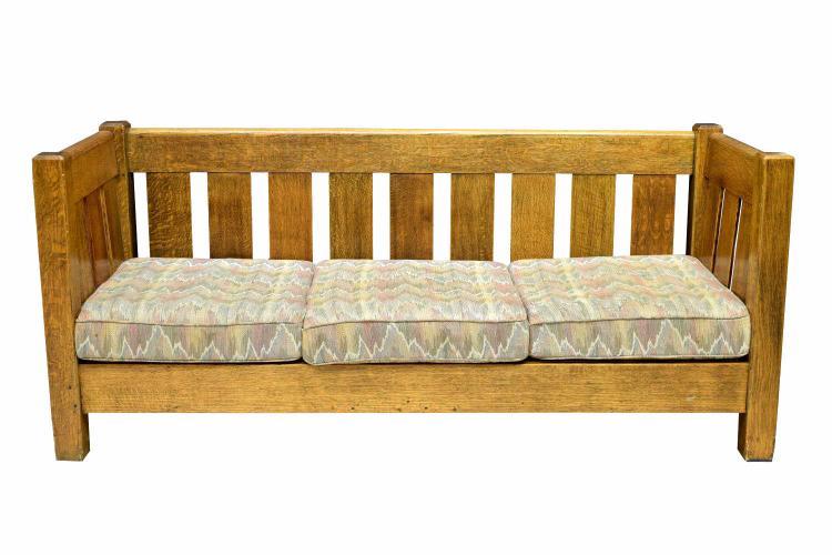arts crafts three seat oak sofa. Black Bedroom Furniture Sets. Home Design Ideas