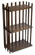 ARTS & CRAFTS SLAT FORM THREE-SHELF BOOKCASE