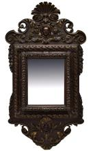 ITALIAN LOUIS XV CARVED PARCEL GILT FIGURAL MIRROR