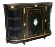 AMERICAN NEO-CLASSICAL CURVED GLASS CABINET