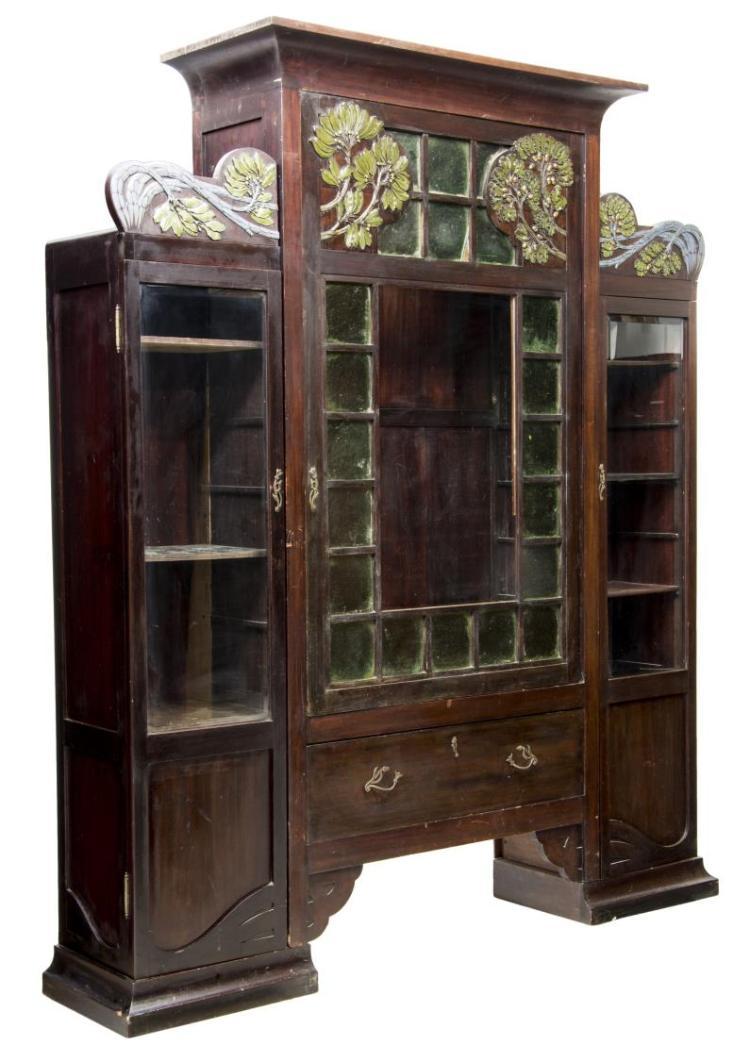 French Art Nouveau Glazed Display Cabinet C 1900