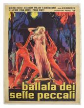 UNFRAMED VINTAGE ITALIAN MOVIE POSTER 'SEVEN SINS'