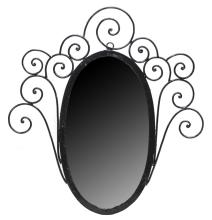 VINTAGE ITALIAN SCROLLED IRON OVAL WALL MIRROR