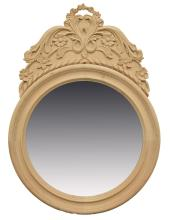 FLORAL CARVED NATURAL WOOD FRAME WALL MIRROR