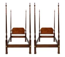 (2) MAHOGANY SINGLE SIZE FOUR POSTER BEDS