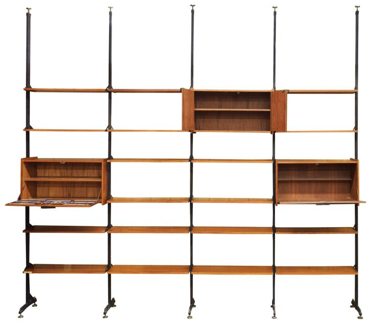Italian mid century modern modular teak bookcase for Mid century modern modular homes