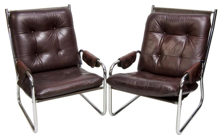 2 Danish Mid Century Modern Leather Lounge Chairs