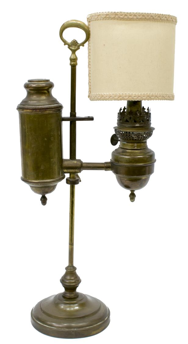 Antique French Brass Argand Oil Table Lamp