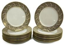 (25)ROYAL WORCESTER GOLDEN FEATHERS SERVICE PLATES