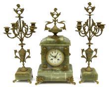 (2) ANTIQUE NAPOLEON III ONYX CLOCK & GARNITURES