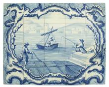 DELFT BLUE & WHITE CERAMIC 20-TILE HARBOR SCENE