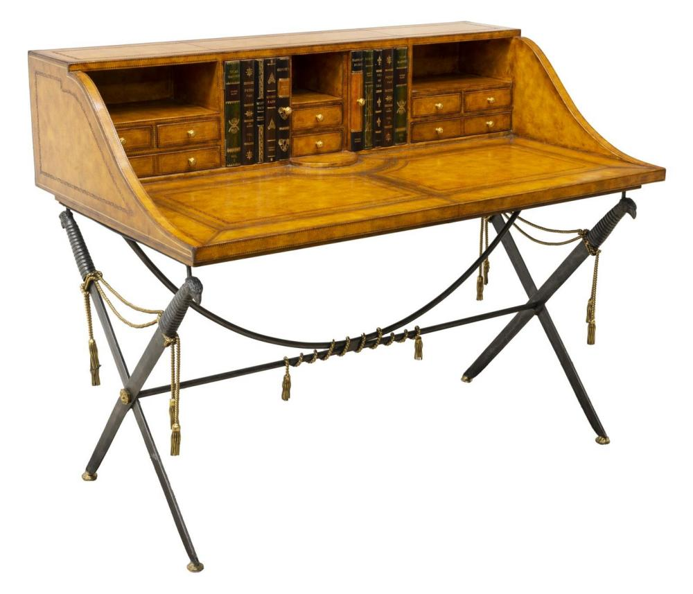 Lot 691: MAITLAND SMITH LEATHER CLAD CAMPAIGN STYLE DESK