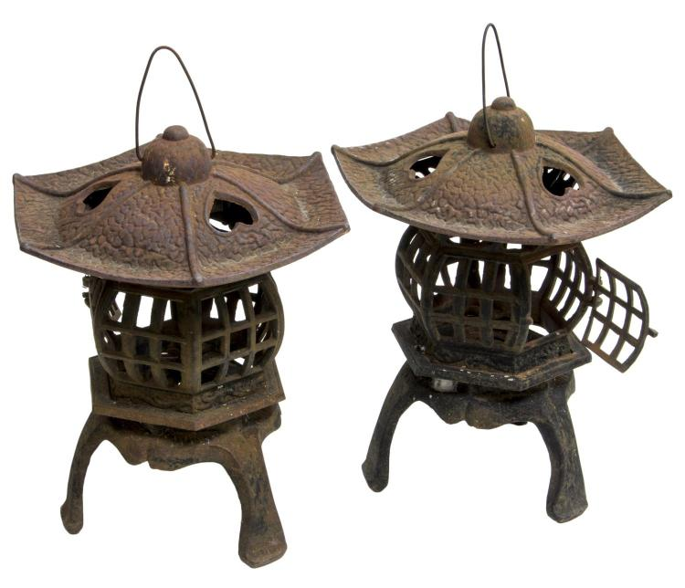 (2) ASIAN ARCHITECTURAL PAGODA CAST IRON LANTERNS