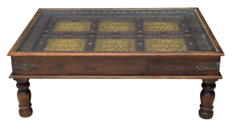 Teakwood Coffee Table Inset Antique Door