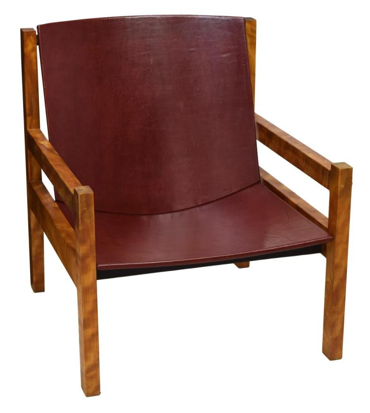 Mid Century Modern Maple Leather Arm Chair
