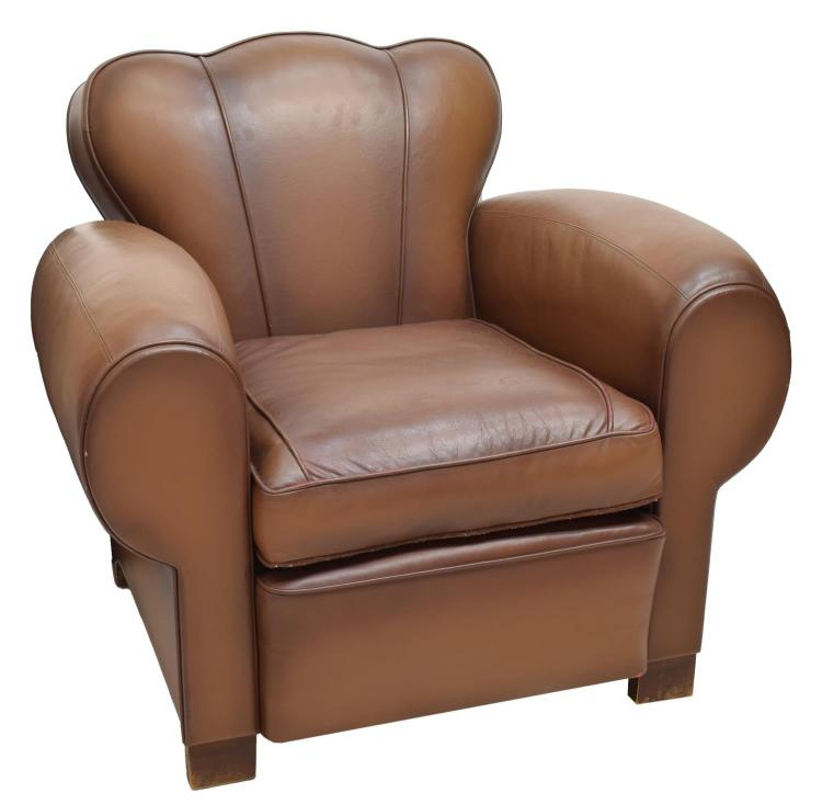 Art Deco Style Leather Club Chair