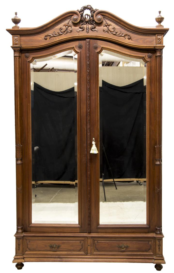 french louis xvi style double mirrored armoire. Black Bedroom Furniture Sets. Home Design Ideas