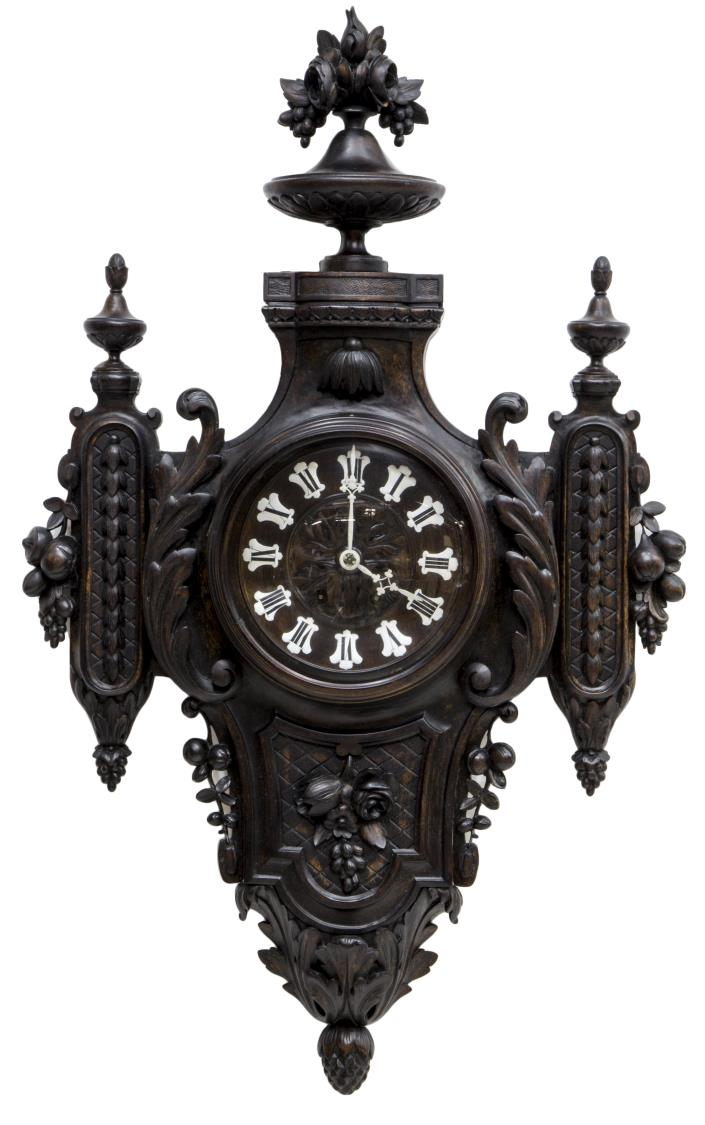 Antique black forest finely carved wall clock