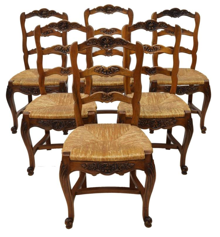 6 Rush Seat Country French Dining Chairs