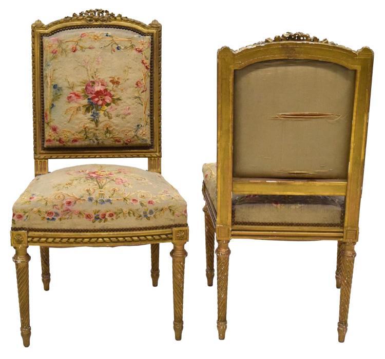 2 louis xvi style parcel gilt salon chairs for Salon style louis 16