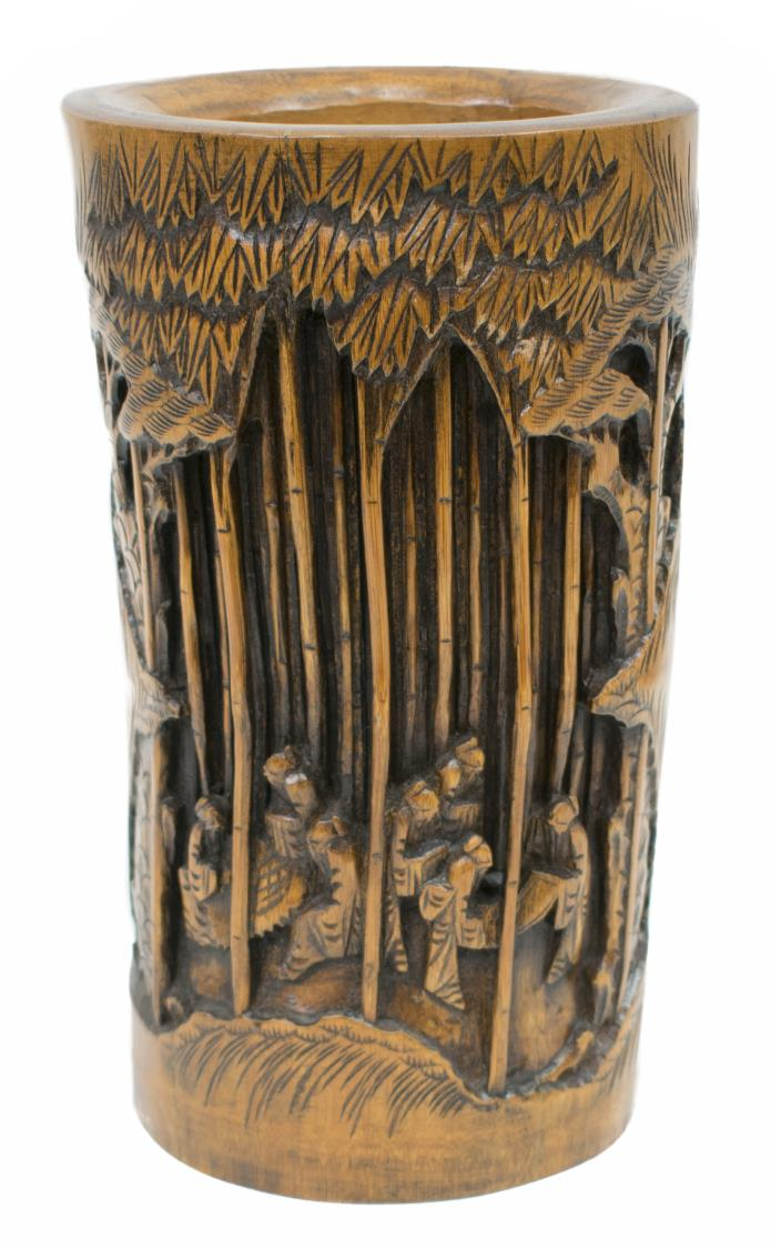 Chinese carved bamboo brush pot a table box