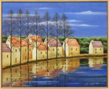 JEAN-PIERRE CAPRON (FRENCH) PAINTING, RIVER HOUSES