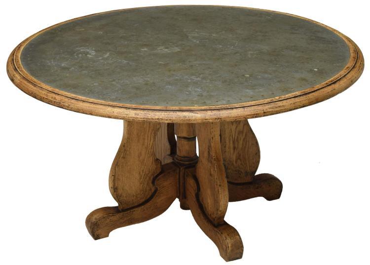 Arhaus Wood Metal Top Coffee Table