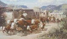 SIGNED MELVIN WARREN PRINT 'WHEN COWBOYS GET EDGY'