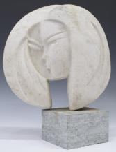 ABSTRACT MARBLE STATUE, DOUBLE FACE OF THE MOON