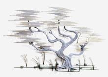 LARGE CURTIS JERE METAL SCULPTURE, BONSAI TREE