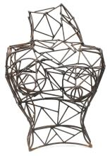 MODERN STEEL WIRE SCULPTURE, FEMALE TORSO