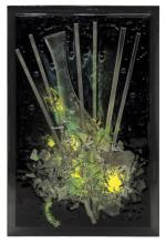 POLYCHROME ABSTRACT ART GLASS PANEL, 36