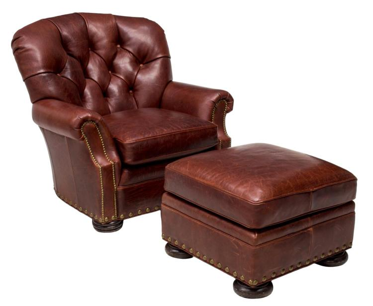 2 brown leather tufted club chair ottoman for Furniture auctions uk