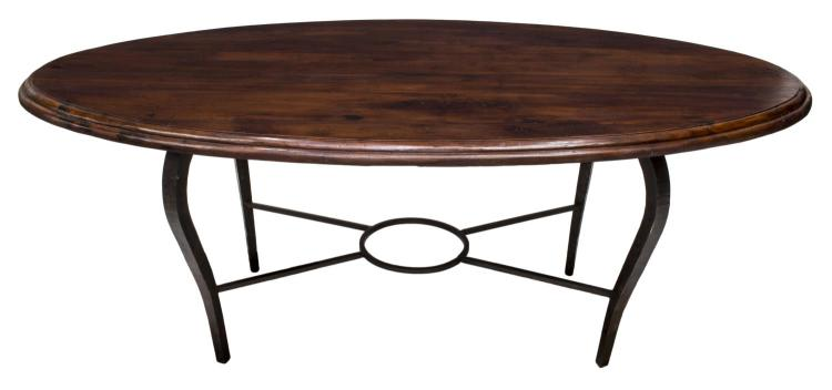 lot 194 teak hand forged iron dining table india