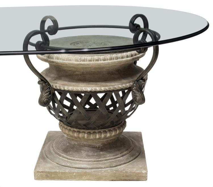 LARGE OVAL GLASS TOP URN PEDESTAL DINING TABLE