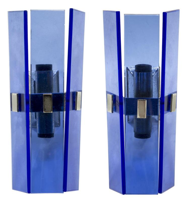 Modern Wall Sconces Italian : (2) ITALIAN MODERN MURANO GLASS WALL SCONCES
