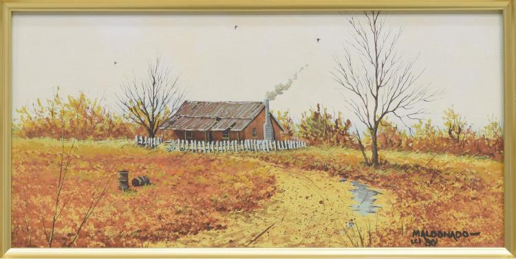 DANIEL MALDONADO (TX) FALL HOMESTEAD WATERCOLOR
