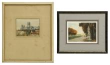(2) FRAMED HAND-COLORED ETCHINGS, VERSAILLES