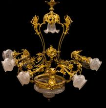 FRENCH VICTORIAN STYLE BRONZE 10-LIGHT CHANDELIER