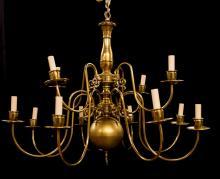 DUTCH STYLE BRASS 12-LIGHT CHANDELIER
